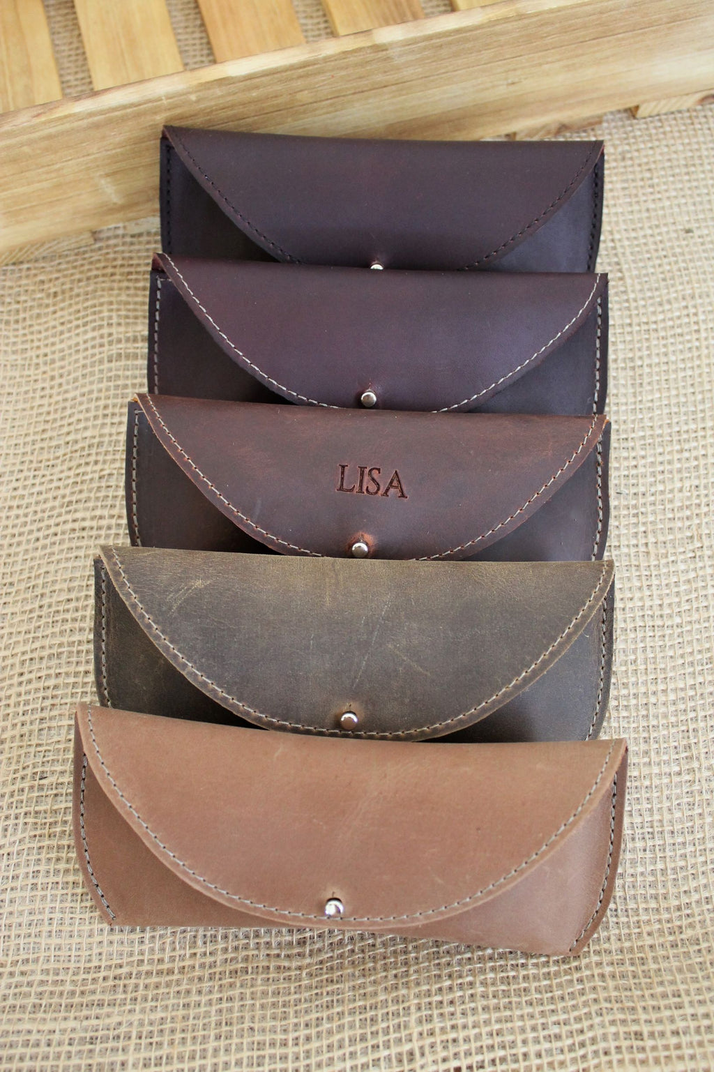 Personalized Leather Sunglass Case - available in Sable, Distressed Brown, Cognac or Burgundy