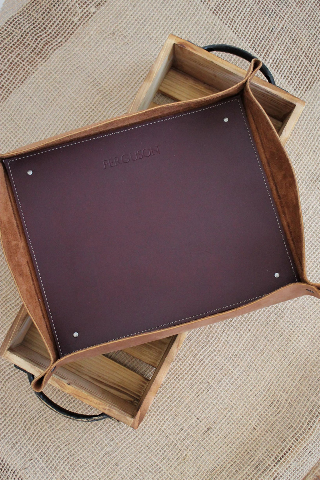 Leather store: Monogrammed Leather Storage Tray for Ottoman