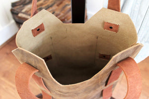 Leather Tote Bags: Handcrafted Distressed Brown Small Leather Tote Bag