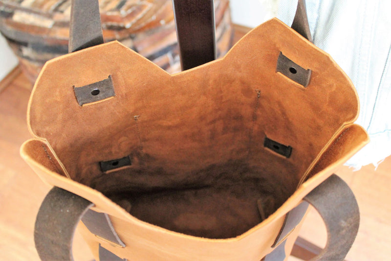 Leather Tote Bags: Handmade Small Saddle Brown Leather Tote Bag