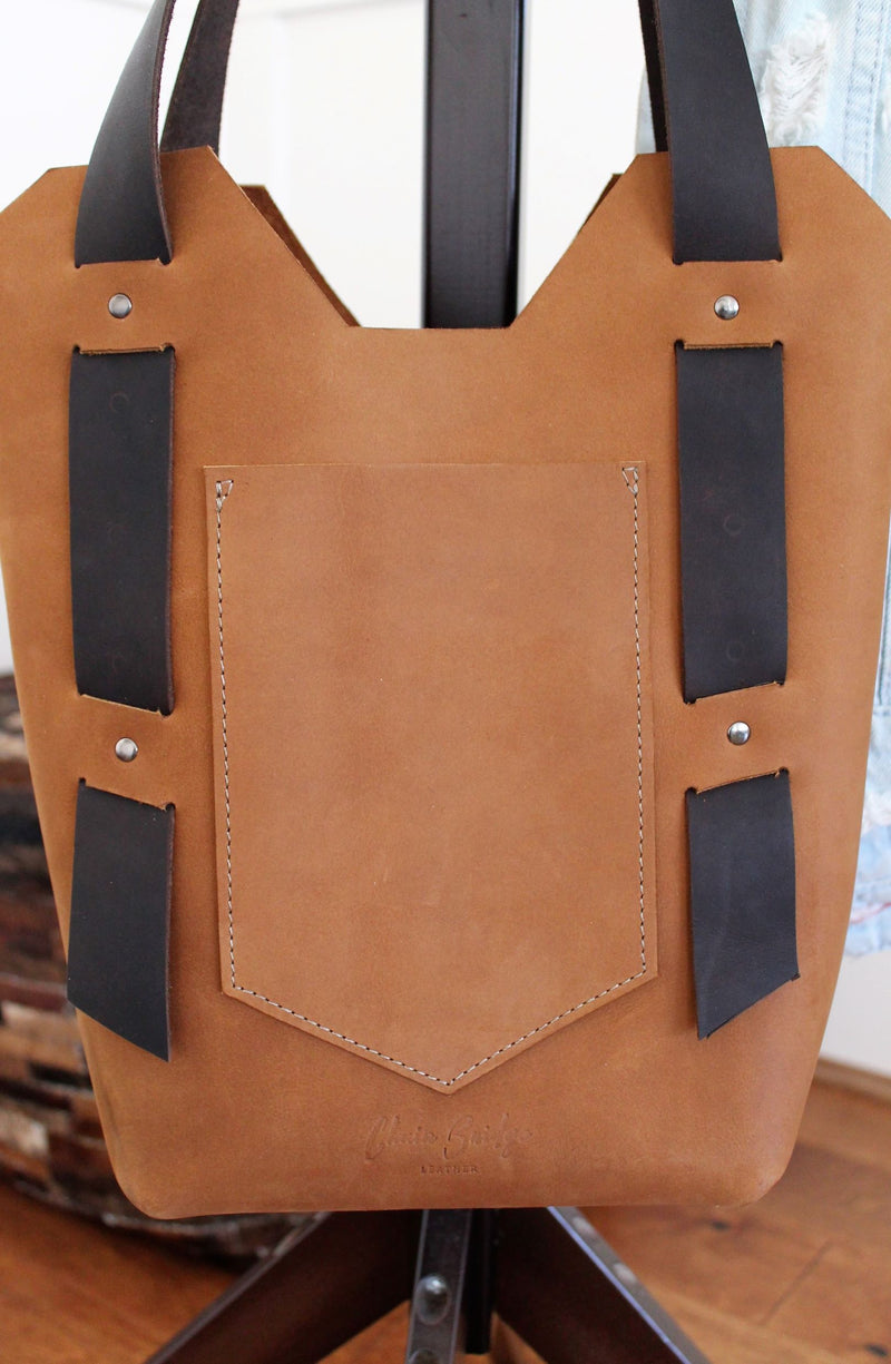 Leather Tote Bags: Handcrafted Small Saddle Brown Leather Day Bag
