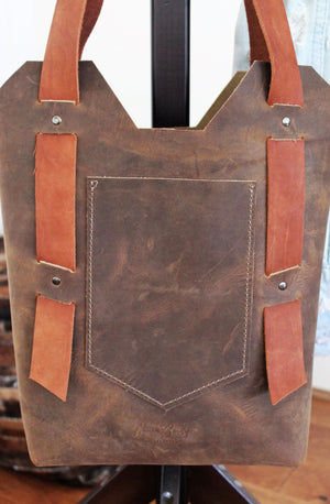 Leather Tote Bags: Handcrafted Distressed Brown Small Leather Day Bag