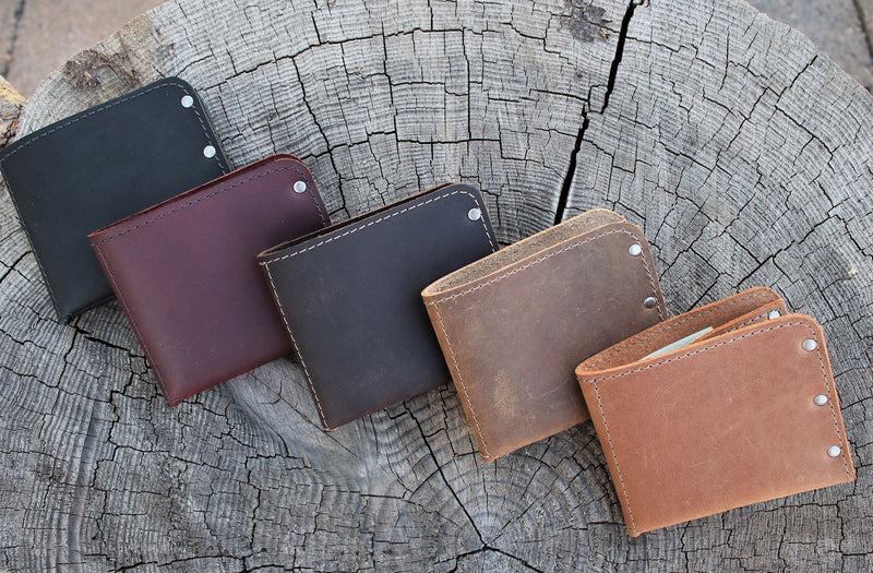 Minimalist Leather Men's Monogram Personalized Wallet - Available in Sable, Distressed Brown, Chocolate Brown, Burgundy or Black