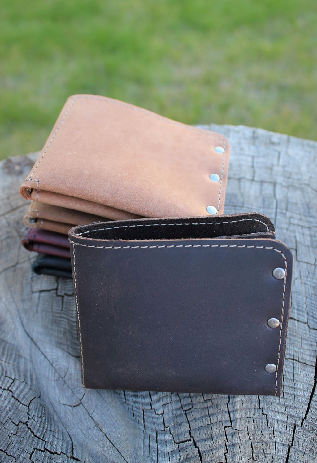 Leather store: Minimalist Leather Men's Monogram Personalized Wallet
