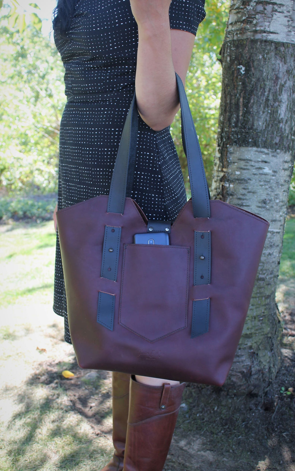 Leather Tote Bags: Handcrafted Burgundy Leather Large Tote Bag