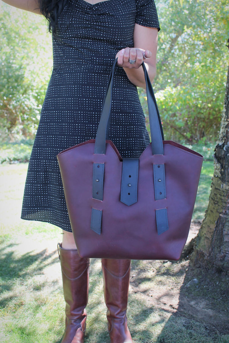 Handcrafted Burgundy Leather Large Tote Bag - Available in Sable, Saddle Brown, Distressed Brown, Chocolate Brown or Burgundy
