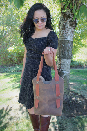 Handcrafted Distressed Brown Small Leather Tote Bag - Available in Sable, Saddle Brown, Distressed Brown, Chocolate Brown or Burgundy