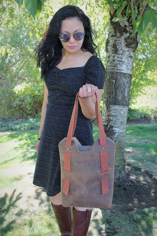 Handcrafted Burgundy Leather Large Tote Bag 5 colors