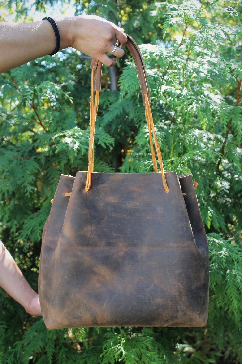 Distressed Brown Leather Tote Bag - available in Sable, Saddle Brown, Distressed Brown, Chocolate Brown or Burgundy