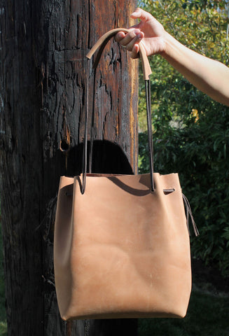 Handcrafted Saddle Tan Leather Large Tote Bag w/ braided straps 6 colors