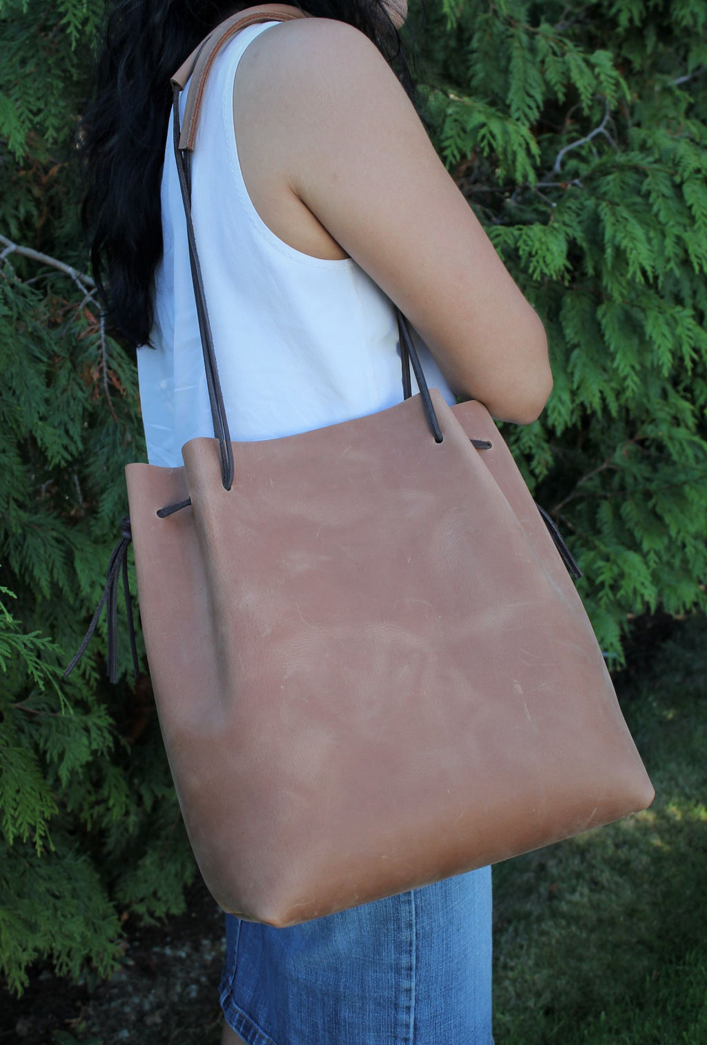 Leather Tote Bags: Sable Leather Tote Bag