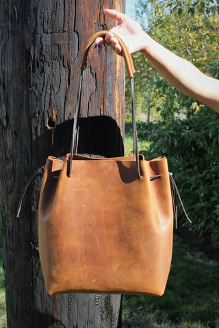 Handcrafted Chocolate Brown Leather Day Bag 5 colors