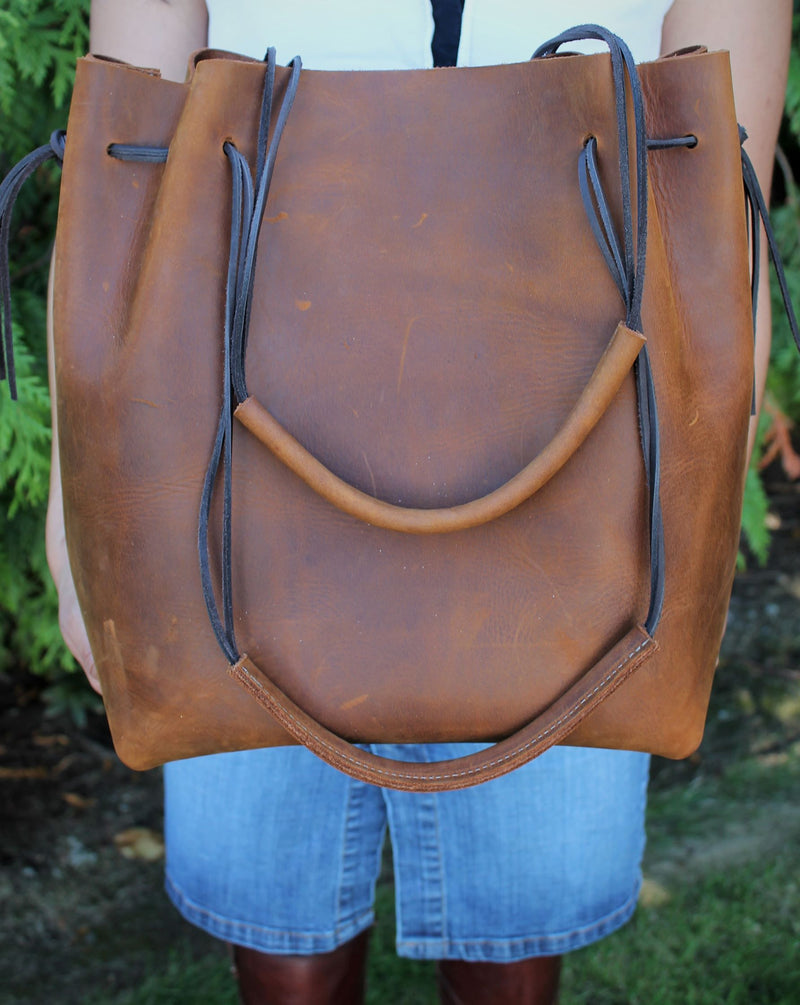 Leather Tote Bags: Saddle Brown Leather Tote Bag