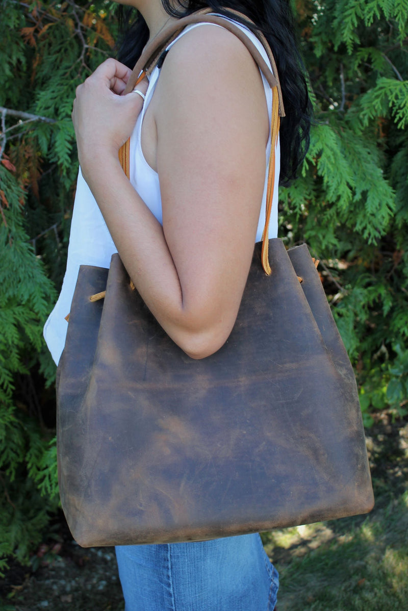 Leather Tote Bags: Distressed Brown Leather Hobo Bag
