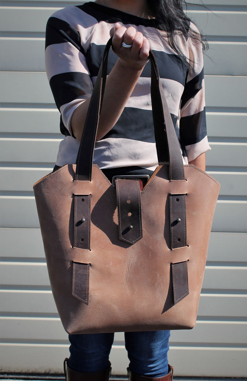 Leather Tote Bags: Handcrafted Sable Leather Women's Shoulder Bag