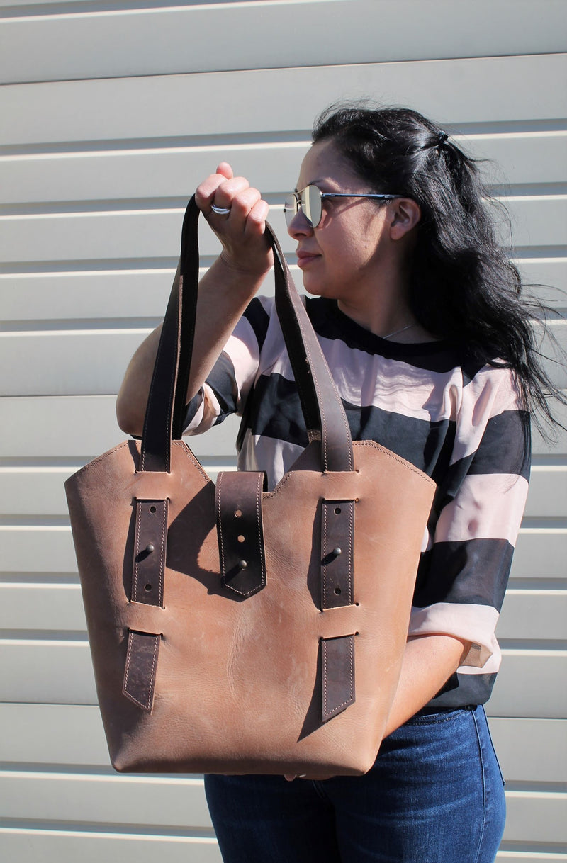 Leather Tote Bags: Handmade Sable Leather Tote Bag
