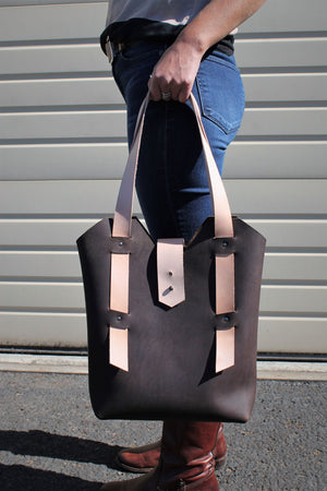 Leather Tote Bags: Handcrafted Chocolate Brown Leather Day Bag