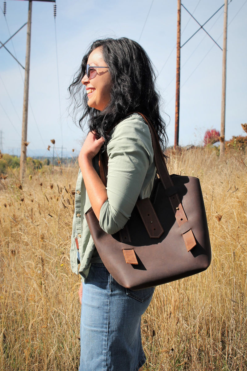 Leather Tote Bags: Adjustable Chocolate Brown Leather Tote Bag
