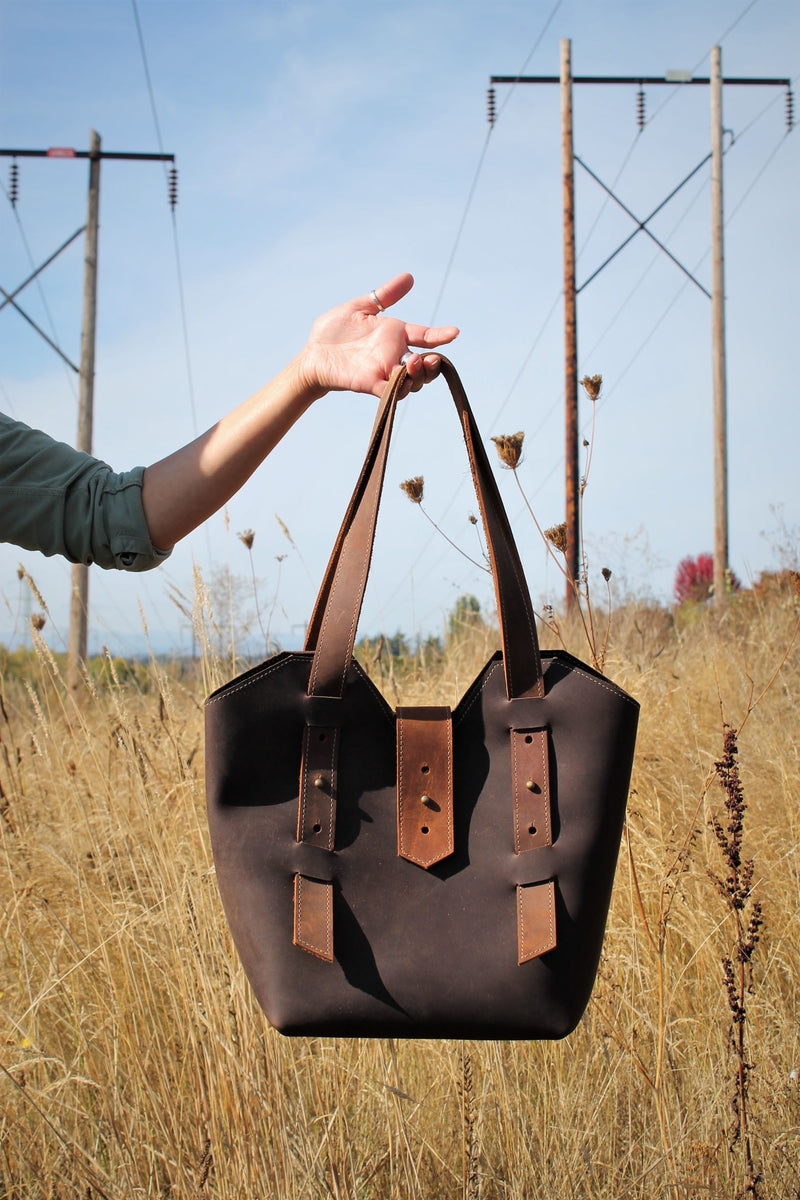 Adjustable Chocolate Brown Leather Tote Bag - Available in Sable, Saddle Brown, Distressed Brown, Chocolate Brown or Burgundy
