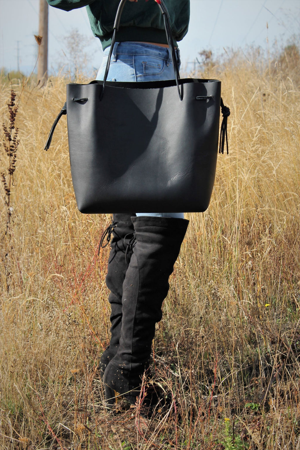 Large Black Leather Tote Bag - Available in Black