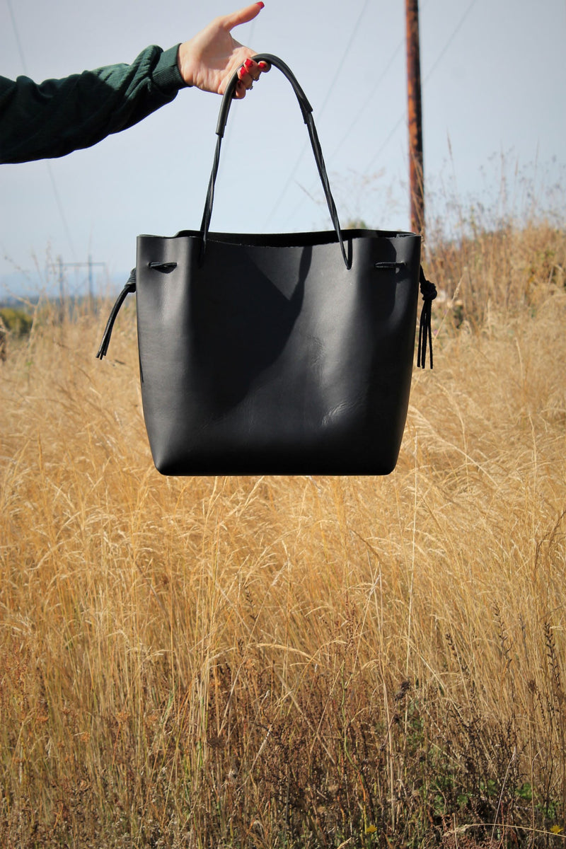 Leather Tote Bags: Large Black Leather Hobo Bag