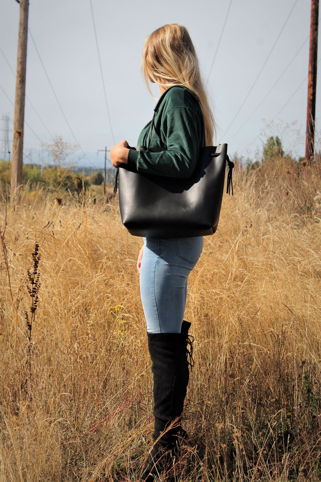 Leather Tote Bags: Large Black Leather Tote Bag