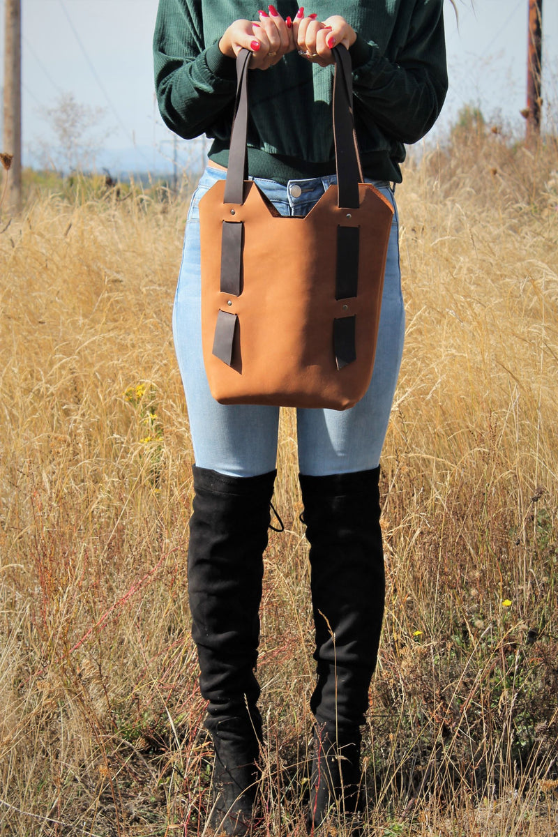 Handcrafted Small Saddle Brown Leather Tote Bag - Available in Sable, Saddle Brown, Distressed Brown, Chocolate Brown or Burgundy