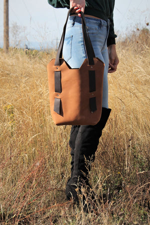 Leather Tote Bags: Handmade Saddle Brown Leather Tote Bag