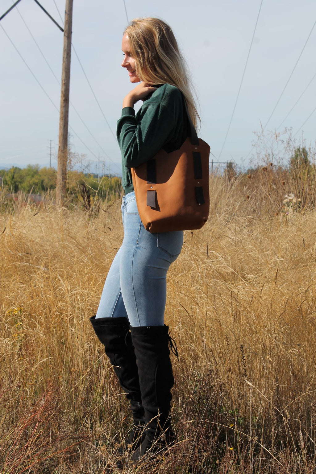 Leather Tote Bags: Handcrafted Small Saddle Brown Leather Tote Bag