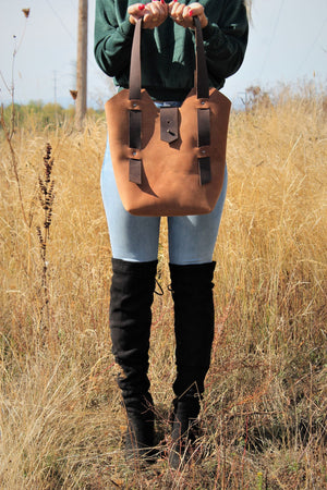 Handmade Saddle Brown Leather Tote Bag - Available in Sable, Saddle Brown, Distressed Brown, Chocolate Brown or Burgundy