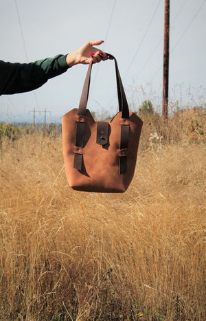 Leather Tote Bags: Handcrafted Saddle Brown Leather Shoulder Bag