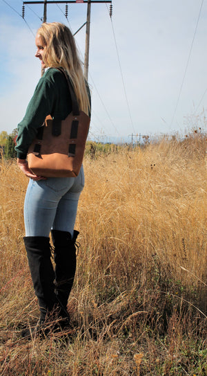 Leather Tote Bags: Handmade Saddle Brown Leather Shoulder Bag