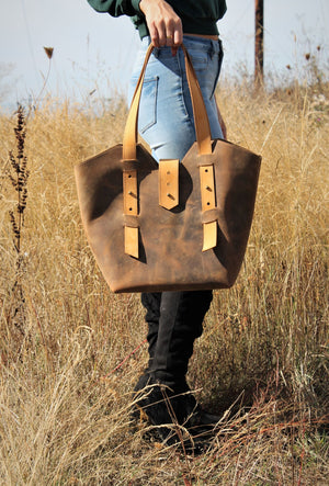 Handcrafted Large Distressed Brown Leather Tote Bag - Available in Sable, Saddle Brown, Distressed Brown, Chocolate Brown or Burgundy