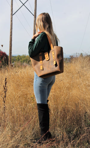 Leather Tote Bags: Handcrafted Large Distressed Brown Leather Tote Bag