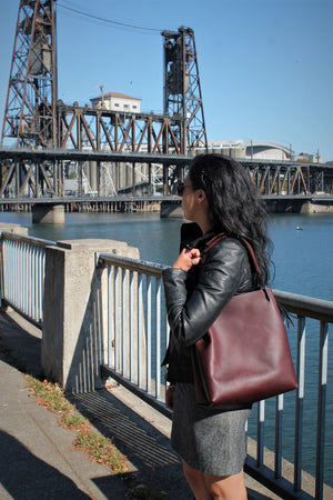 Leather Tote Bags: Burgundy Leather Hobo Bag