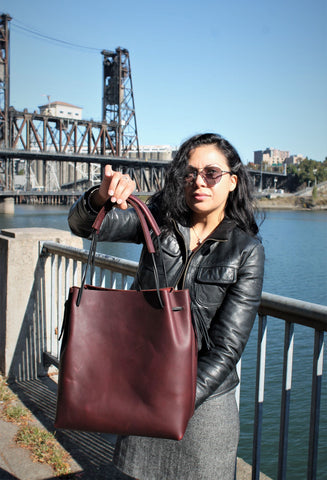 Handcrafted Small Saddle Brown Leather Day Bag 5 colors