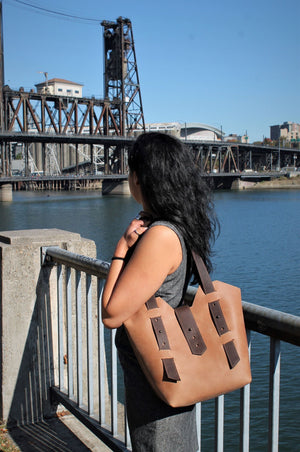 Handmade Sable Leather Tote Bag - Available in Sable, Saddle Brown, Distressed Brown, Chocolate Brown or Burgundy