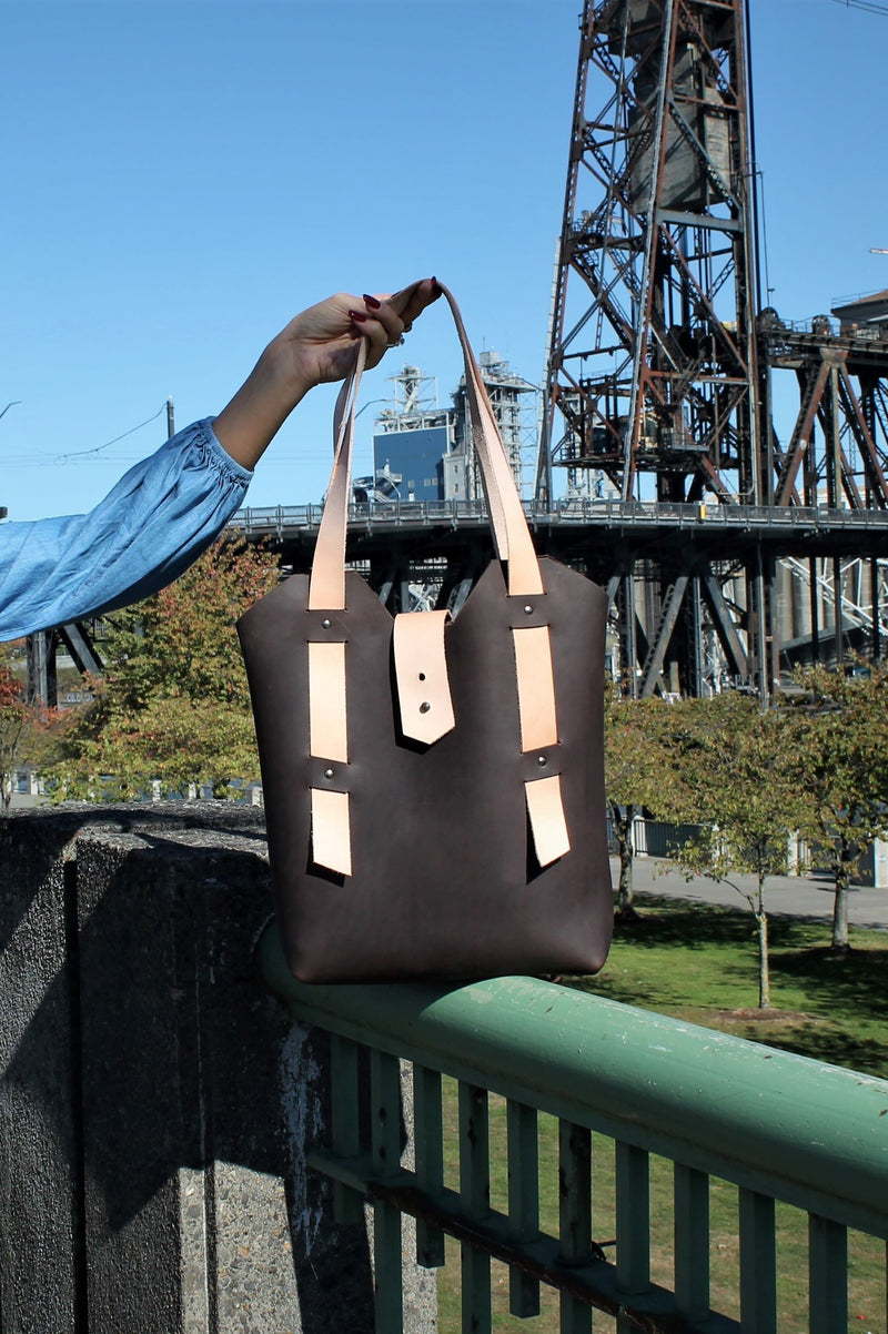 Handcrafted Chocolate Brown Leather Tote Bag - Available in Sable, Saddle Brown, Distressed Brown, Chocolate Brown or Burgundy