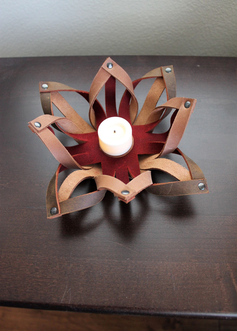 Small Leather Accessories: Handmade Leather Tealight Candle Holder Table Decor Red