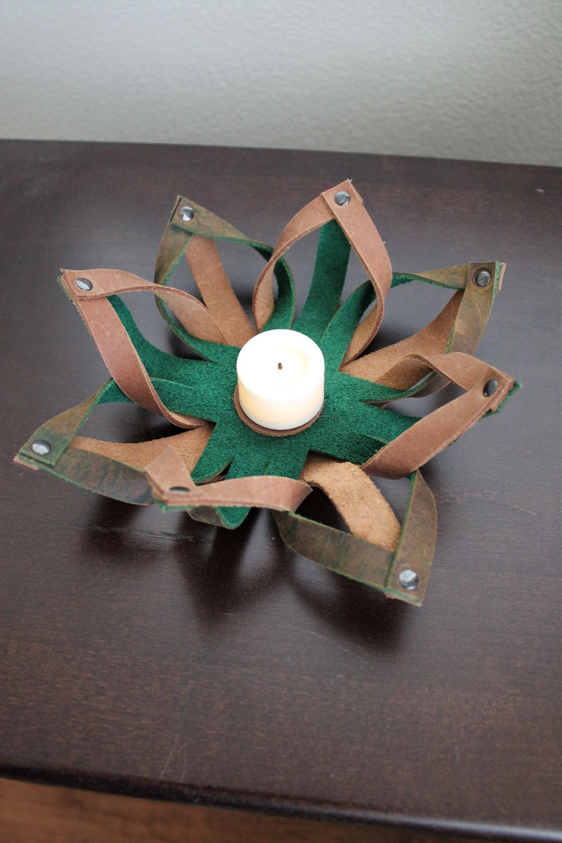 Small Leather Accessories: Handmade Leather Tealight Candle Holder Table Decor Green