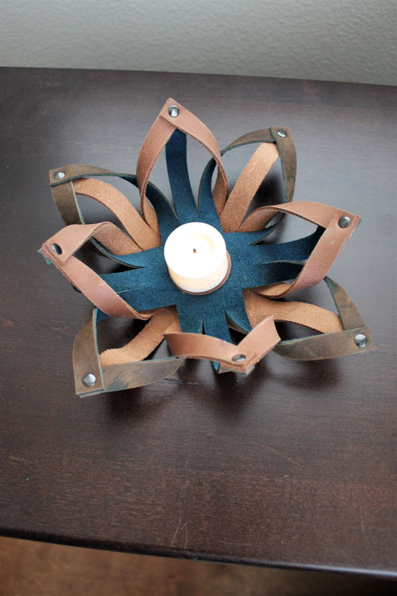 Small Leather Accessories: Handmade Leather Tealight Candle Holder Table Decor Blue