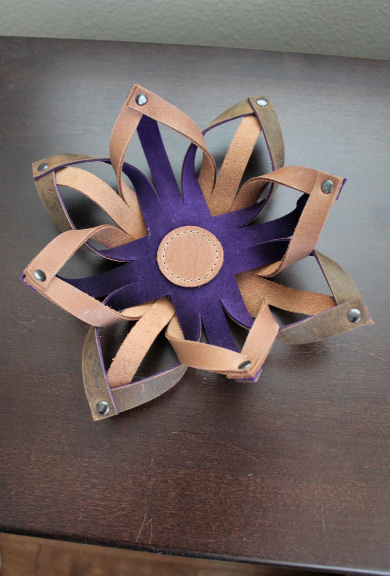 Small Leather Accessories: Handmade Leather Tealight Candle Holder Table Decor Purple