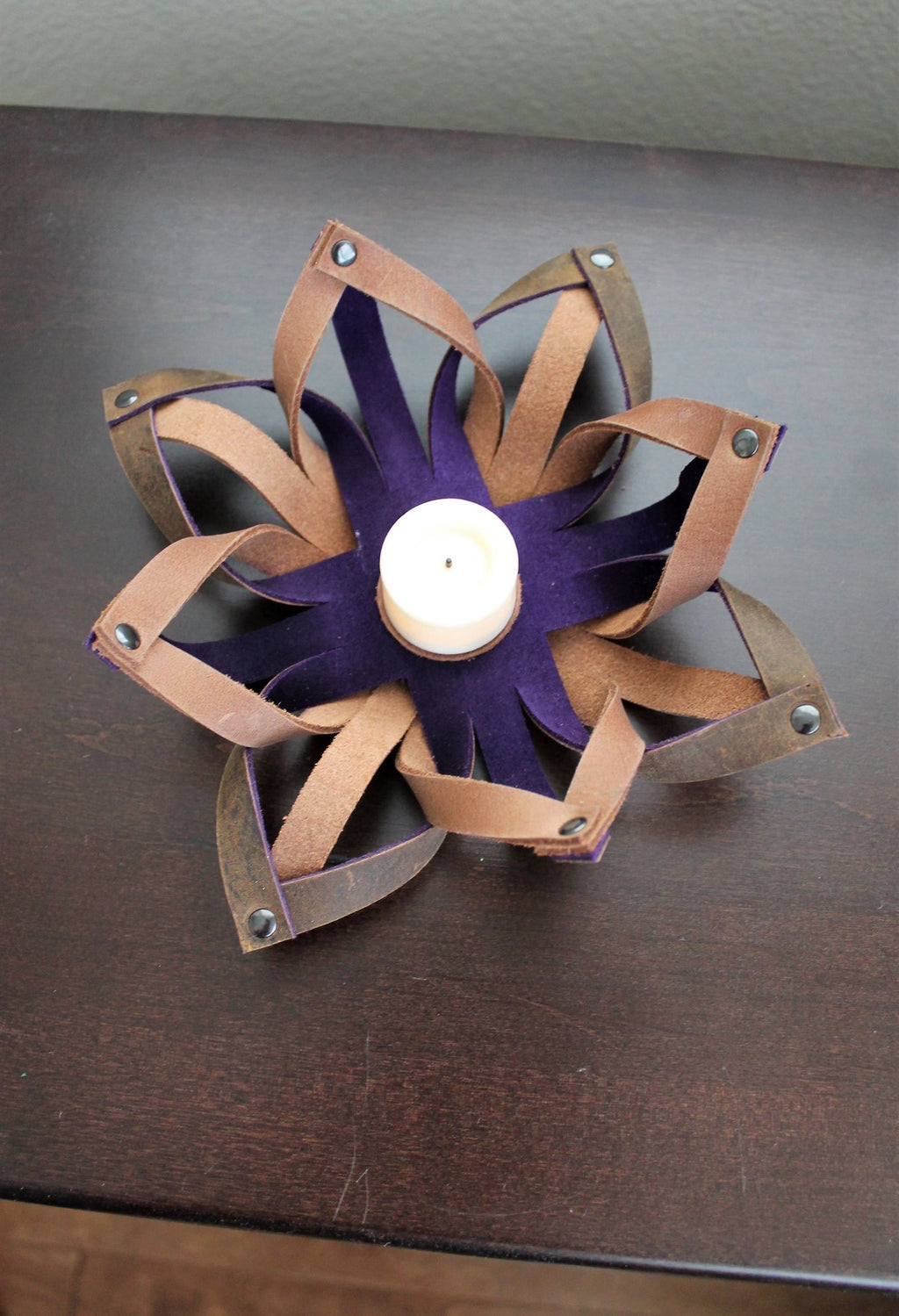 Leather store: Handmade Leather Tealight Candle Holder