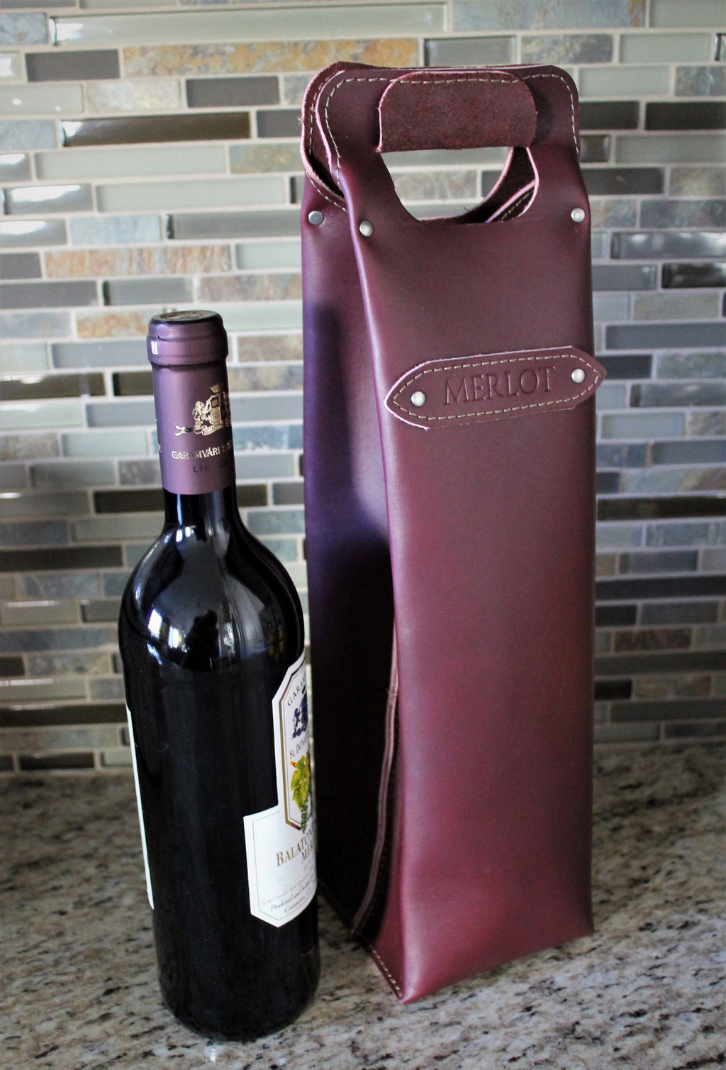 Leather store: Monogram Personalized Leather Wine Bag