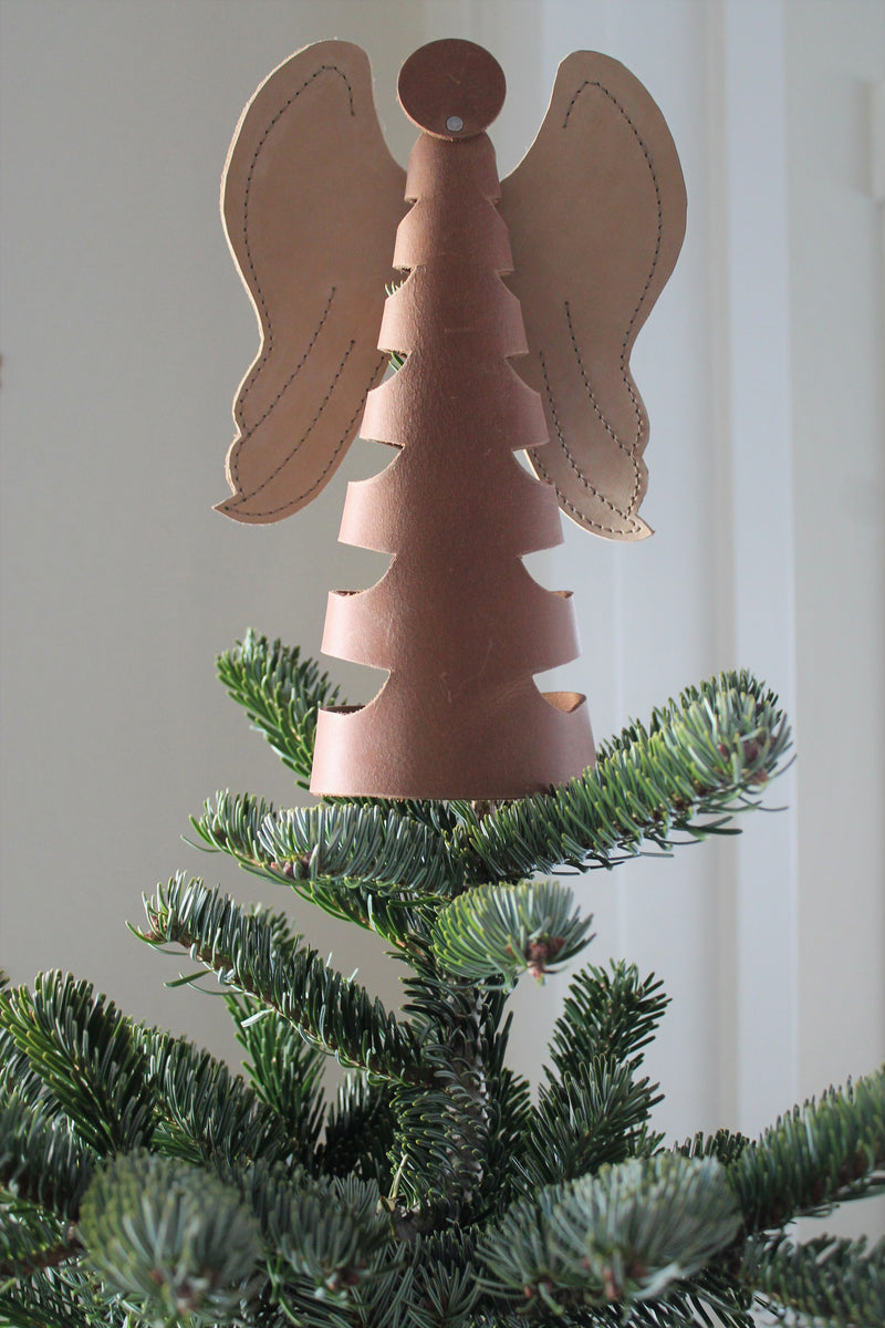 Leather Angel Tree Topper, Tealight Holder, Home Decor