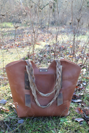 Leather Tote Bags: Handcrafted Large Saddle Tan Leather Tote Bag with Braided Straps