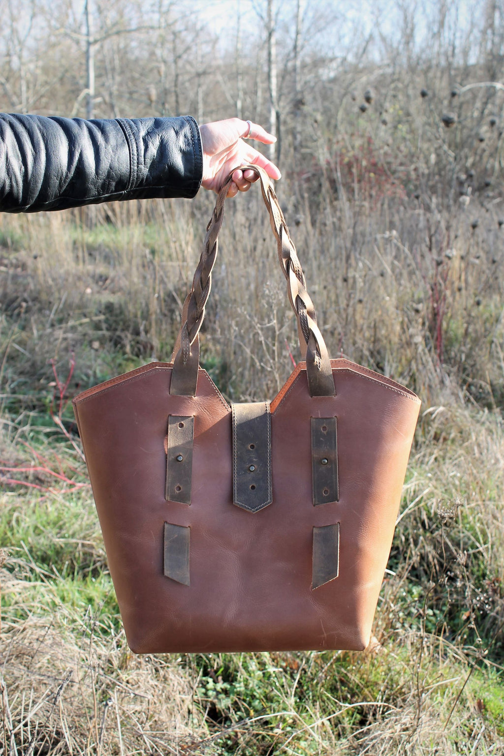 Handmade Large Saddle Tan Leather Tote Bag with Braided Straps - Available in Sable, Saddle Tan, Saddle Brown, Distressed Brown, Chocolate Brown or Burgundy