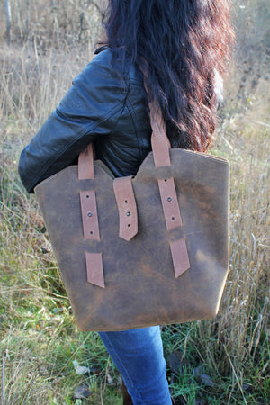 Handcrafted Large Distressed Brown Leather Tote Bag with Braided Straps - available in Sable, Saddle Tan, Saddle Brown, Distressed Brown, Chocolate Brown or Burgundy
