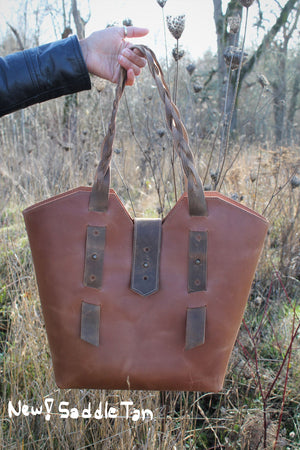 Leather Tote Bags: Handcrafted Large Distressed Brown Leather Tote Bag with Braided Straps