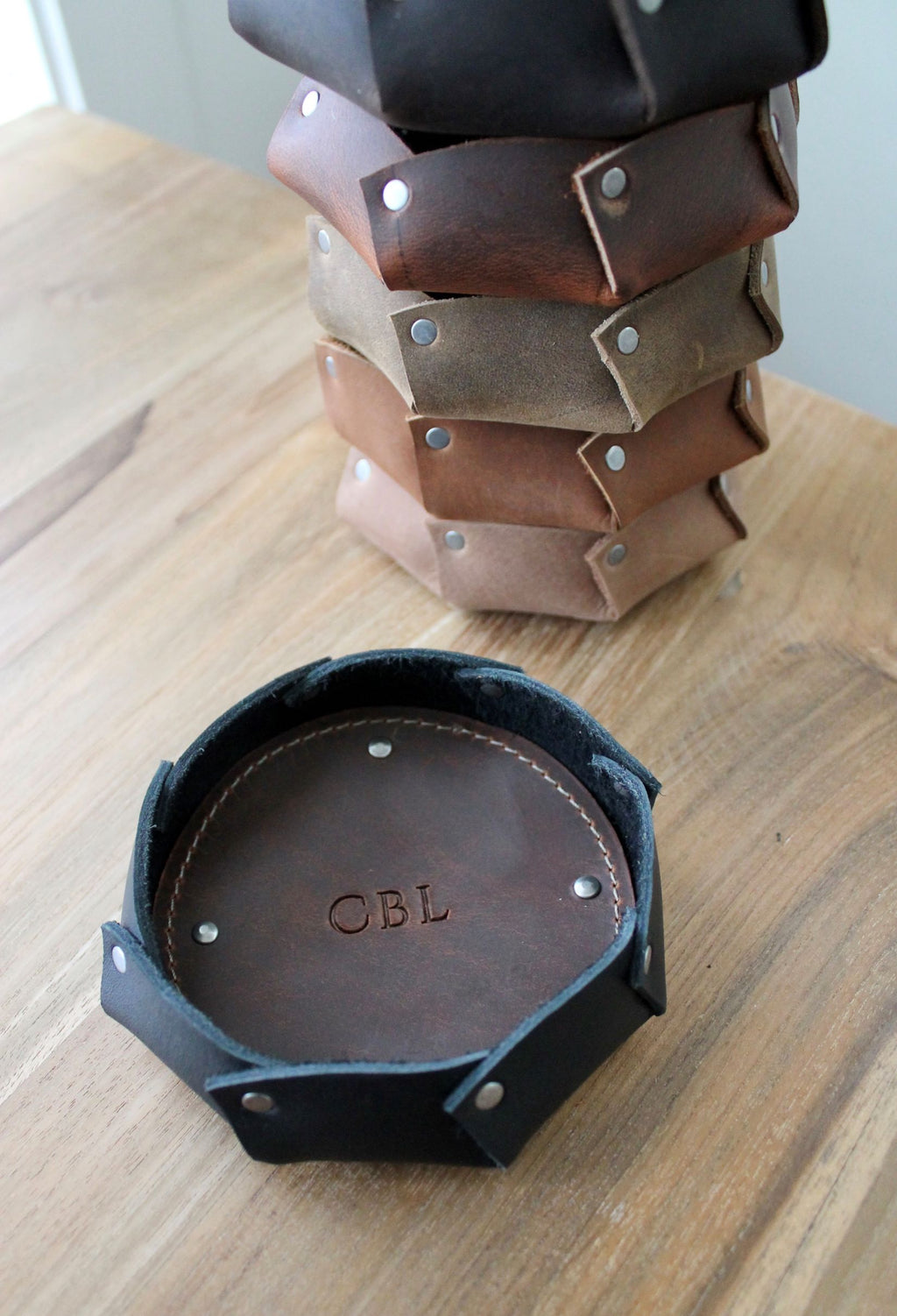 Leather store: monogram personalized mini leather bowl